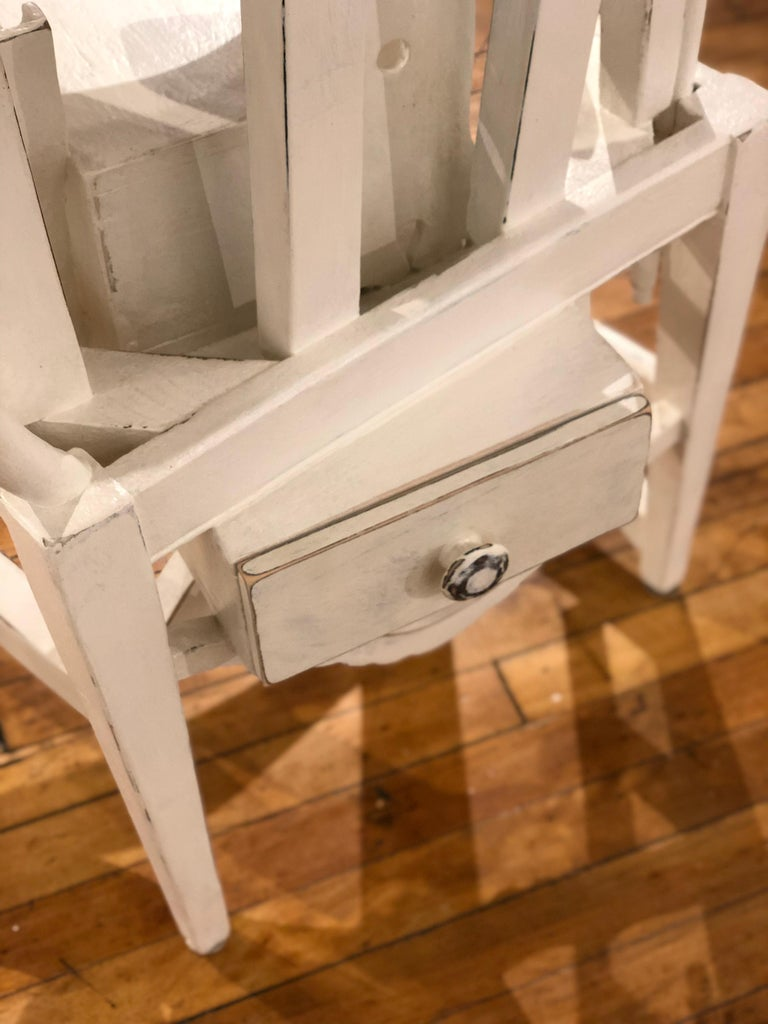 Lefty - Side Table or Pedestal, Found Wood Various Materials, Painted For Sale 1