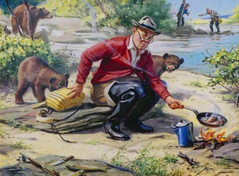 """Oil on canvas by Hy Hintermeister 1897-1972. From the archives of the Shaw Barton Calendar company. Used for early calendar print. Part of the humorous fishing series he started. 27""""x22"""". Well framed.  Henry Hintermeister was born in 1897 in New"""