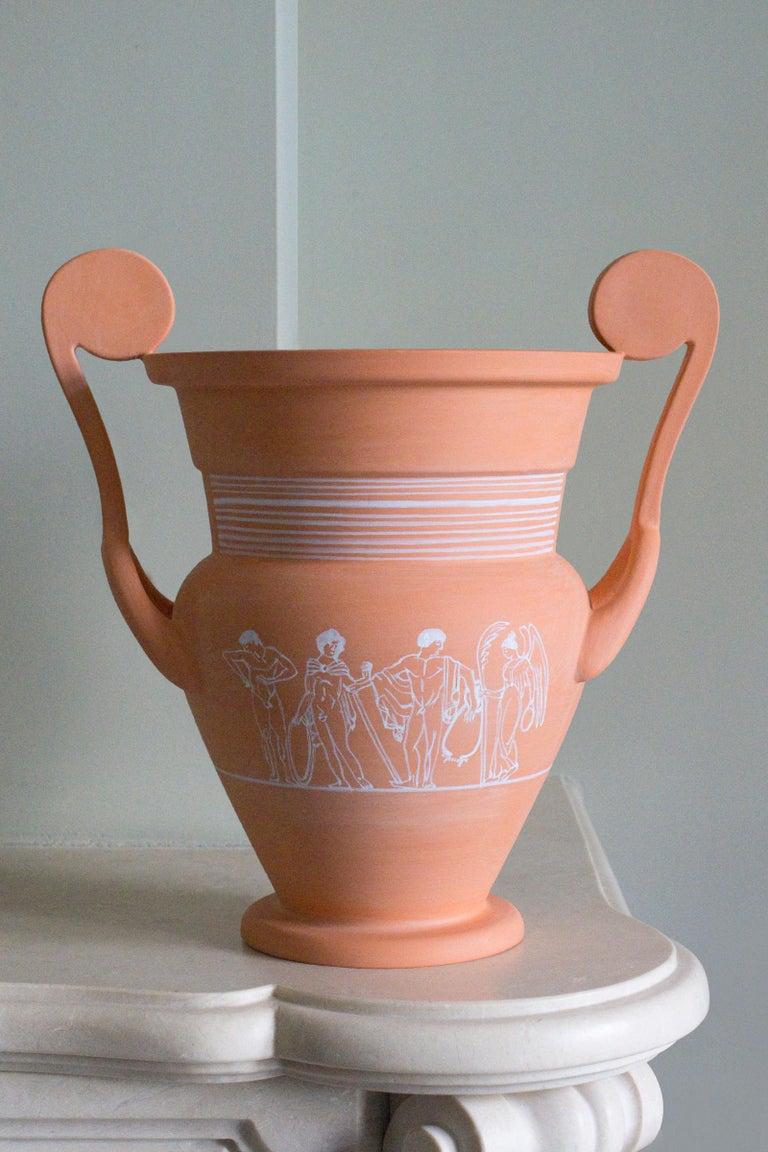 Classical Greek Cratera, Decorated Terracotta Vessel, Classic Greek ceramic Inspiration For Sale