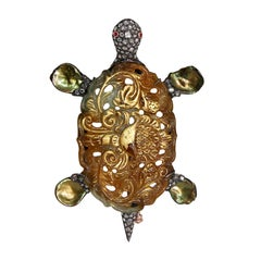 Craved Jade Turtle Pearl Diamond Brooch