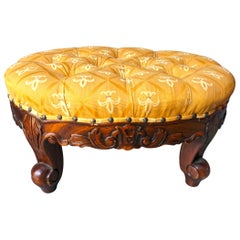 Craved Wood Footstool with Upholstered Top