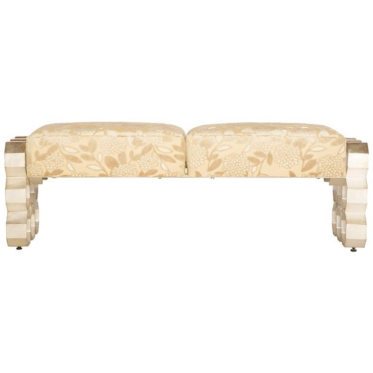 Crawford Bed Bench in Gilded Champagne Leaf by Badgley Mischka Home 1