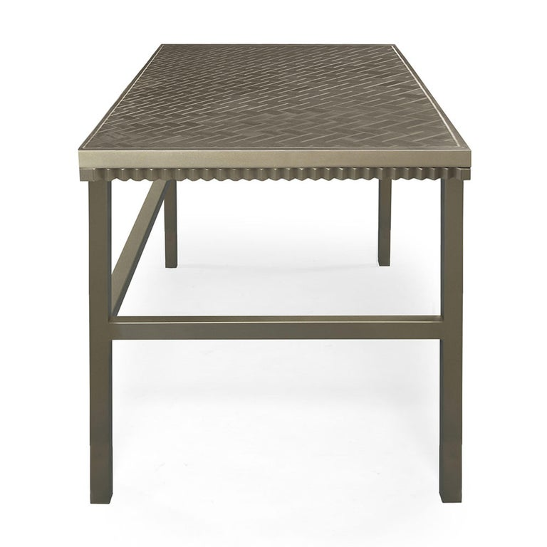 Modern Crawford Desk in Gilded Champagne Leaf by Badgley Mischka Home For Sale