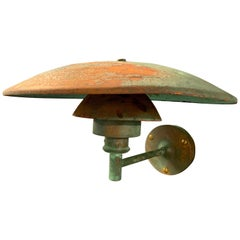 Crazy Patinated Poul Henningsen Copper Wall Scone