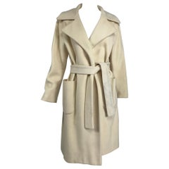 Cream 100% Cashmere Wrap Coat with Patch Pockets 1970s