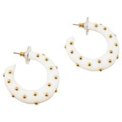 Cream Acrylic Gold Studded Chunky Hoop Earrings by Kenneth Jay Lane, 1970s