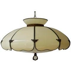Cream Acrylic Shade and Brass Mid-Century Modern Light Fixture Chandelier