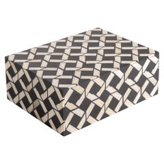 Cream and Black Bone Geometric Design Lidded Box, Indonesia, Contemporary