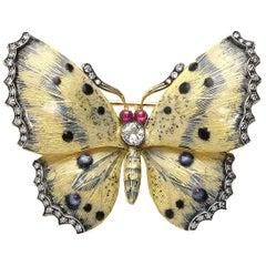 Cream and Blue Enamel Diamond Butterfly Brooch
