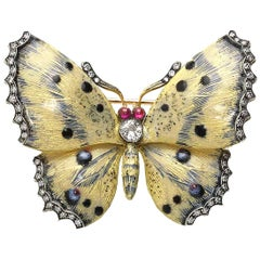 Cream and Blue Enamel Diamond Butterfly Brooch