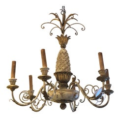 Cream and Gold Italian Pineapple Carved Wood and Iron Chandelier