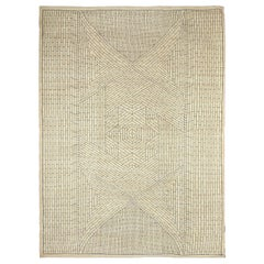Cream and Gray Modern Wool Area Rug with Geometric Design by Orley Shabahang