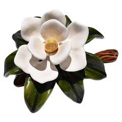 Cream and Green Ceramic Magnolia Flower