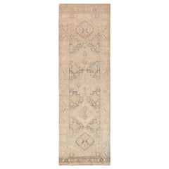 Cream Antique Persian Bidjar Runner Rug 3 ft 7 in x 10 ft 10 in (1.09 m x 3.3 m)