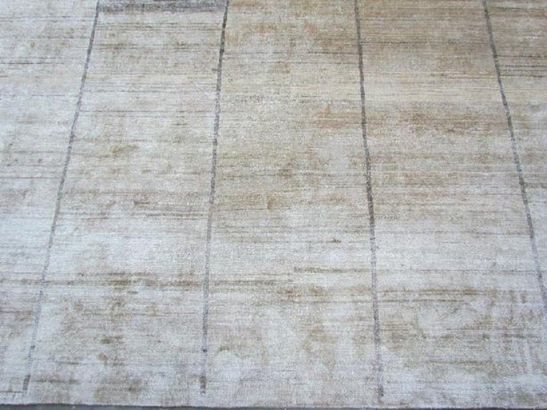 Hand-Knotted Cream Beige Hand Knotted Silk Contemporary Geo-Modern Rug For Sale