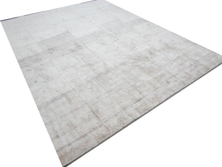 Cream Beige Hand Knotted Silk Contemporary Geo-Modern Rug In New Condition For Sale In GREAT NECK, NY