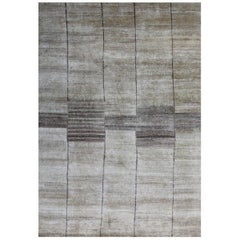Cream Beige Hand Knotted Silk Contemporary Geo-Modern Rug