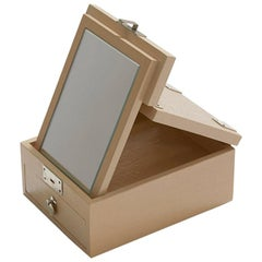 Cream Beige Mother of Pearl Mirror Box with Geometric Pattern