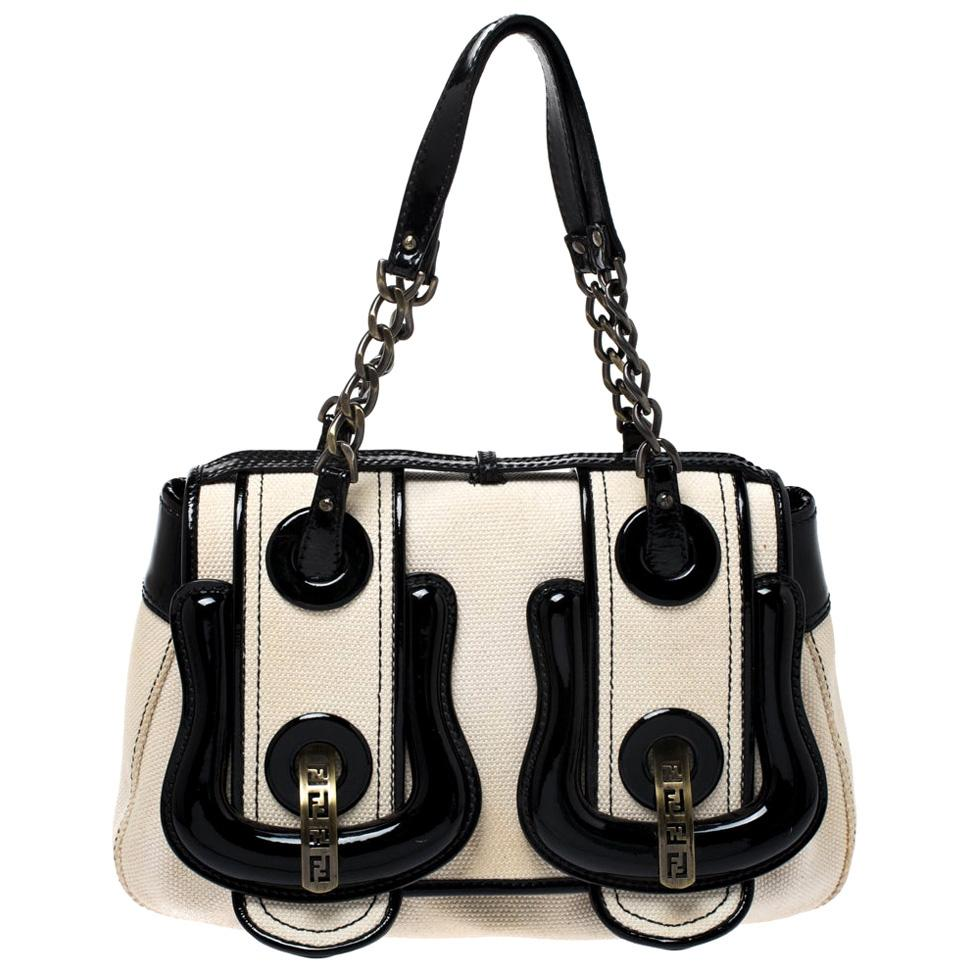 Cream/Black Canvas and Patent Leather B Shoulder Bag