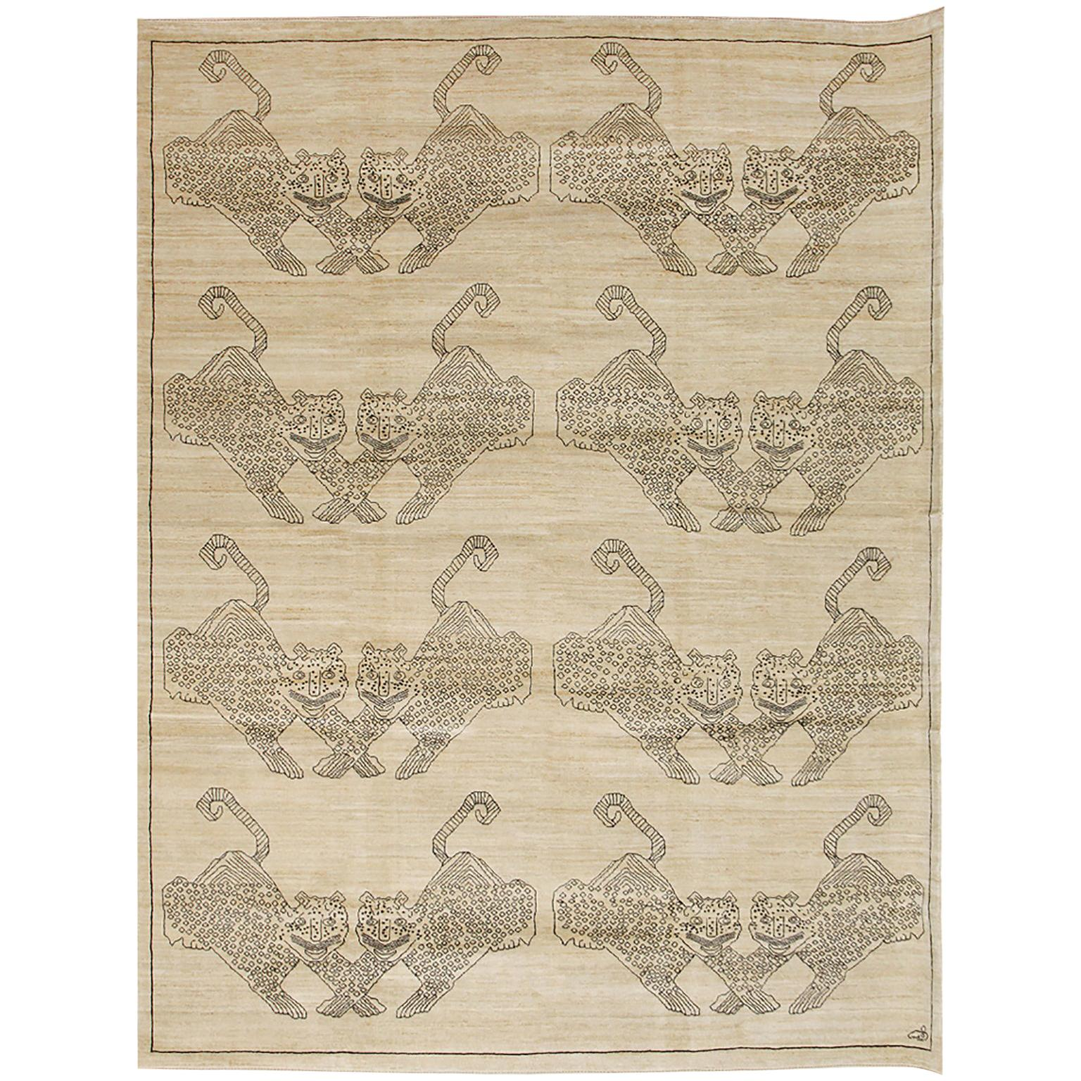 """Cream and Black Contemporary Wool and Silk Persian Carpet, """"Hunting Scene"""""""