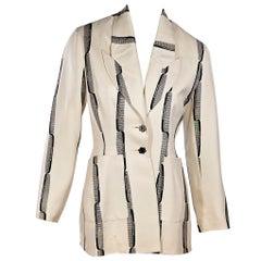 Cream & Black Vintage Todd Oldham Silk Blazer