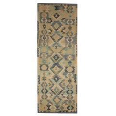 Cream Blue Wool Kilim Runner Rug, Traditional Handmade Flat-weave Rug