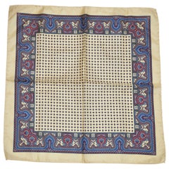 Cream Borders With Miniature Palseys Center Men's Silk Handkerchief