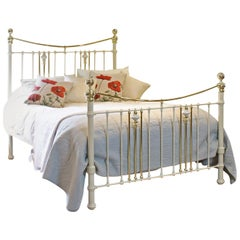 Cream Brass and Iron Bedstead with China Decorations, MK157