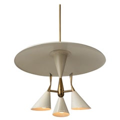Cream & Brass Ceiling Lamp, Italy, circa 1930