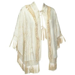 Cream Canton Silk Downton Abbey Embroidered Wedding Shawl - One Size, 1900s