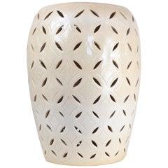 Cream Ceramic Garden Stool - Crackle Glaze