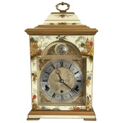 Cream Chinoiserie Painted Musical Mantel Clock by Elliott of London, circa 1970s