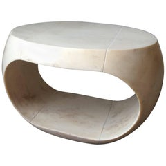 Cream-Colored Cast Resin Drum Table with Distressed Parchment Surface, Large