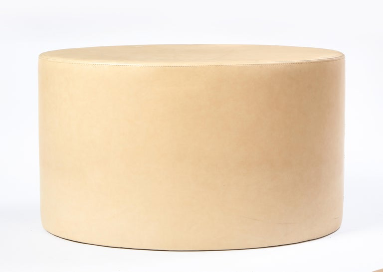 Cream-Colored Low Table Upholstered in Leather, Modern In Good Condition For Sale In New York, NY