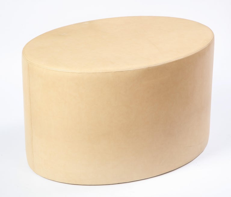 20th Century Cream-Colored Low Table Upholstered in Leather, Modern For Sale
