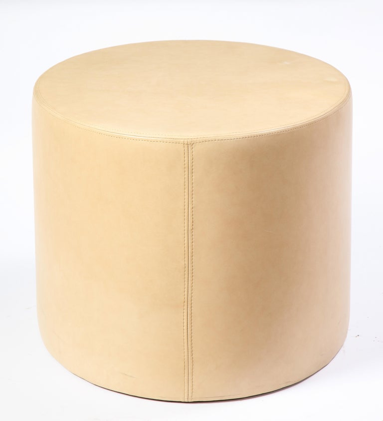 Cream-Colored Low Table Upholstered in Leather, Modern For Sale 2