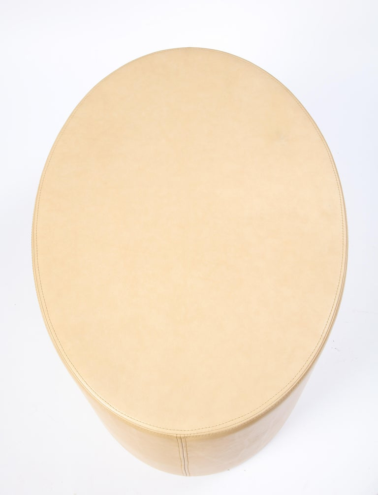 Cream-Colored Low Table Upholstered in Leather, Modern For Sale 3