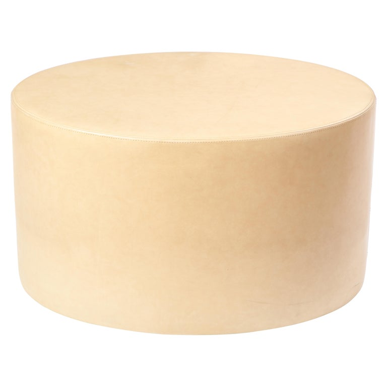 Cream-Colored Low Table Upholstered in Leather, Modern For Sale