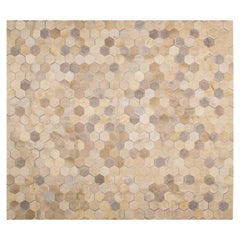 Cream Customizable Angulo Cowhide Area Floor Rug Large