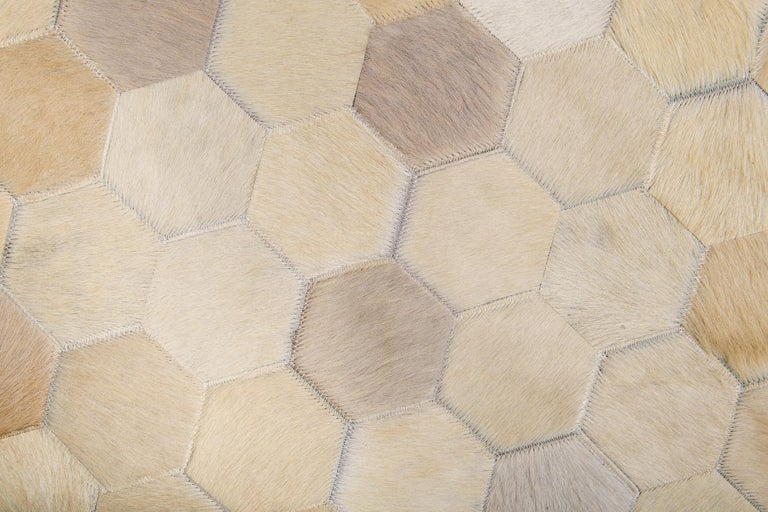Art Deco Cream Customizable Angulo Cowhide Area Floor Rug Medium For Sale