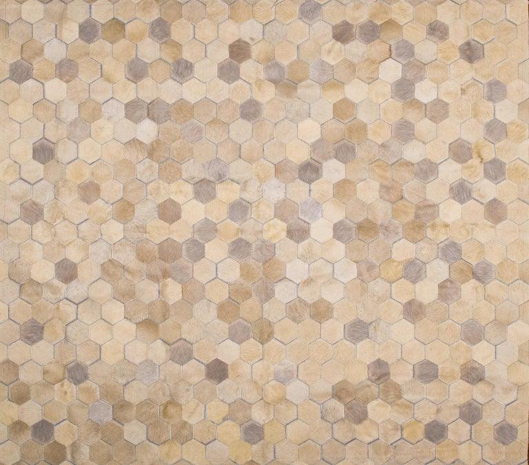 Pakistani Cream Customizable Angulo Cowhide Area Floor Rug Medium For Sale