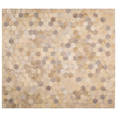 Cream Customizable Angulo Cowhide Area Floor Rug Medium