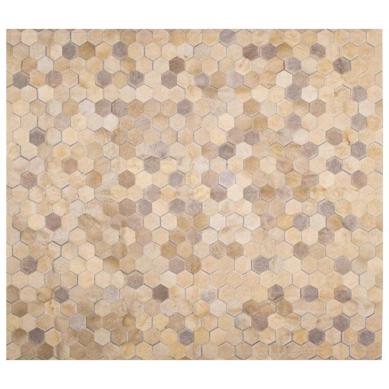 Cream Customizable Angulo Cowhide Area Floor Rug Medium For Sale