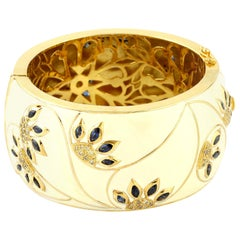 Cream Enamel Cuff Bangle with Diamond and Sapphire in 18 Karat Gold and Silver