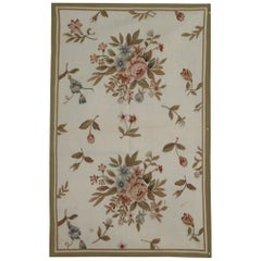 Cream Floral Medallions Aubusson Rugs, Needlepoint Flat-Weave Rug