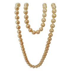 Cream Gold AAA Grade Cultured Pearl Set Necklace Bracelet 14kt