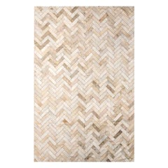 Cream & Gold Herringbone Customizable Estrella Cowhide Area Floor Rug Large