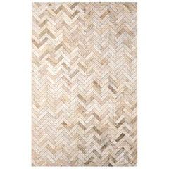 Cream & Gold Herringbone Customizable Estrella Cowhide Area Floor Rug X-Large