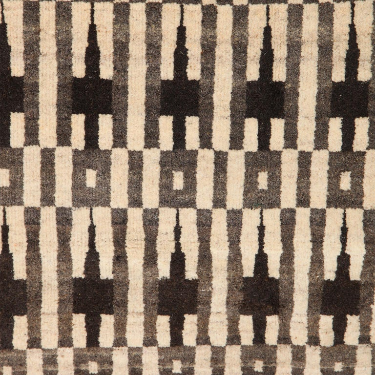 Indian Cream, Grey, and Brown Modern Architectural Geometric Wool Carpet For Sale