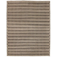 Cream, Grey, and Brown Modern Architectural Geometric Wool Carpet